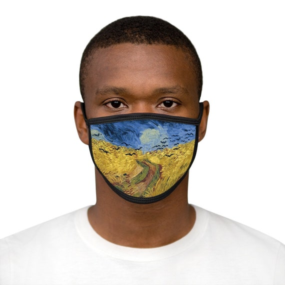 Wheat Field With Crows, Cotton & Polyester Face Mask, Washable, Reusable
