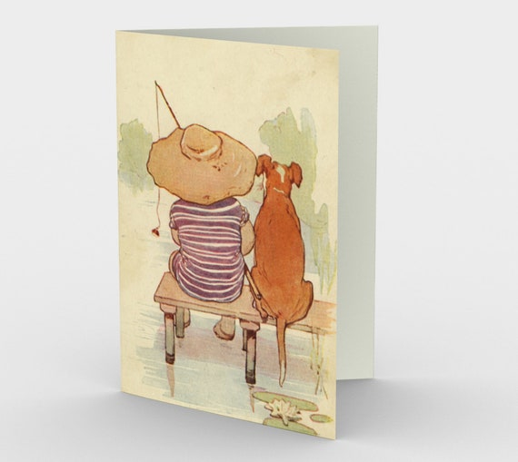 Fishing With Best Friend - Stationery Cards (3), For Loss Of A Pet, With An Image From Antique Vintage Postcard, Circa 1905.