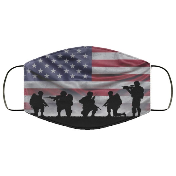 American Soldiers, Large Face Mask, Breathable, Washable, Reusable, American Flag, Patriotic, Patriotism, U.S. Military