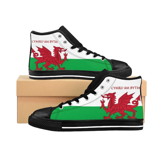 Cymru Am Byth, Women's High-top Sneakers, Red Dragon, Flag Of Wales, Welsh Motto, Welsh Pride