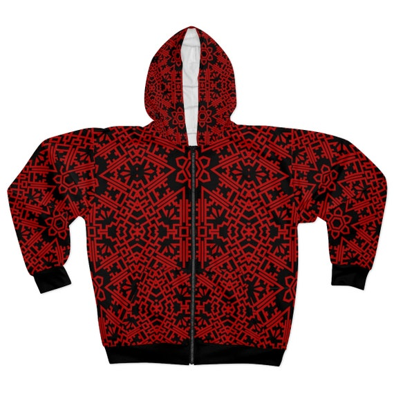 Dark Red Vintage Tribal Pattern, Unisex Zip Fleece Hoodie