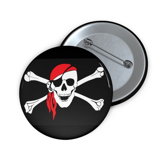 "Skull & Crossbones, 2"" Pin Button, Pirate Flag, Jolly Roger"