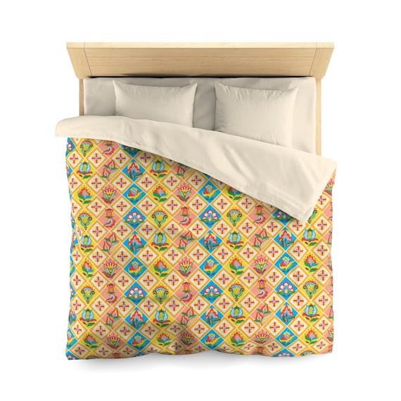 Folk Art Patchwork Quilt Pattern, Queen Duvet Cover, Farmhouse, Country Decor