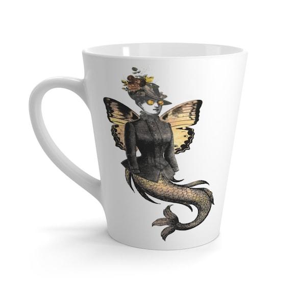 Gold Victorian Butterfly Mermaid White Ceramic Latte Mug, Monty Python Animation Style