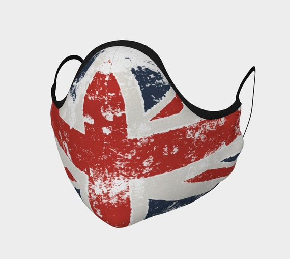 Grunge Union Jack, Face Mask With Filter Pocket, Filters Included, 7 Sizes, 100% Cotton, Free Worldwide Shipping, United Kingdom Flag, UK