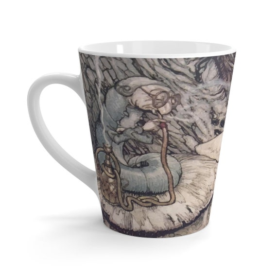 The Hookah Smoking Caterpillar, White 12oz Ceramic Latte Mug, Vintage Illustration, Arthur Rackham, 1907