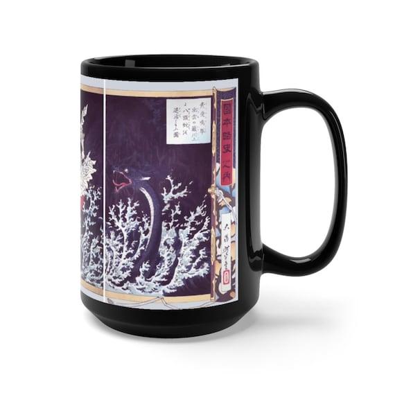 Susanoo Slays Dragon, 15oz Black Ceramic Mugs, Japanese Mythology, Sea Serpent, Sea Monster, Coffee, Tea