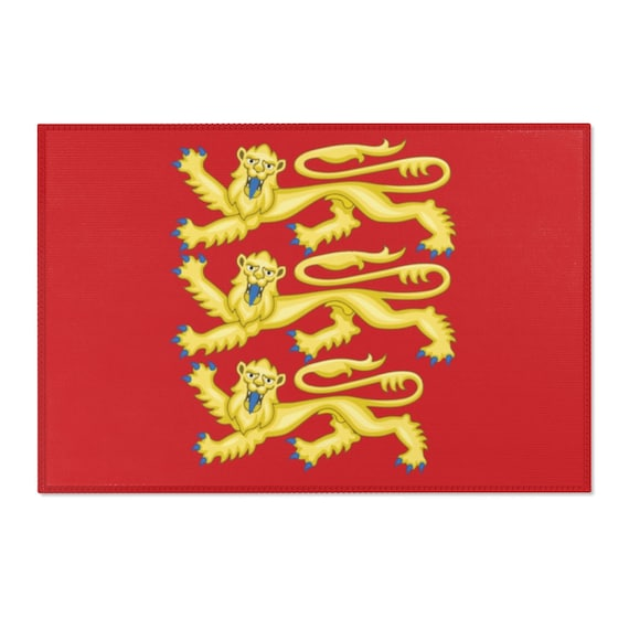 Plantagenet Lions, 2'x3' Door Mat & 4'x6' Area Rug Sizes, Royal Arms of England, English Pride