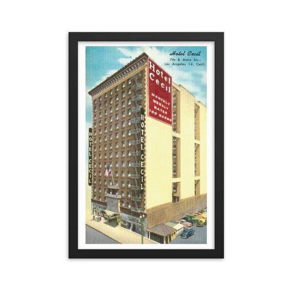 "Horror Hotel Cecil, 12""x18"" Framed Poster, Black Wood Frame, Acrylic Covering, True Crime, Antique Postcard Circa 1950, Americana"