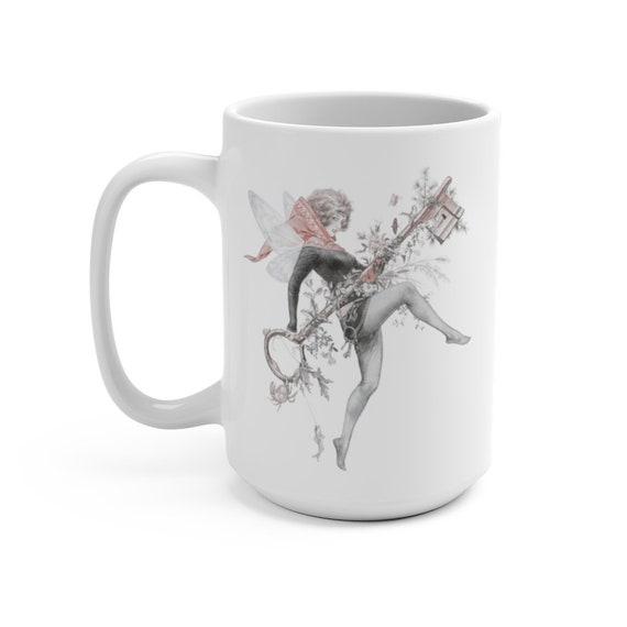 Spring Faerie Key,  White 15oz Ceramic Mug, Vintage Illustration