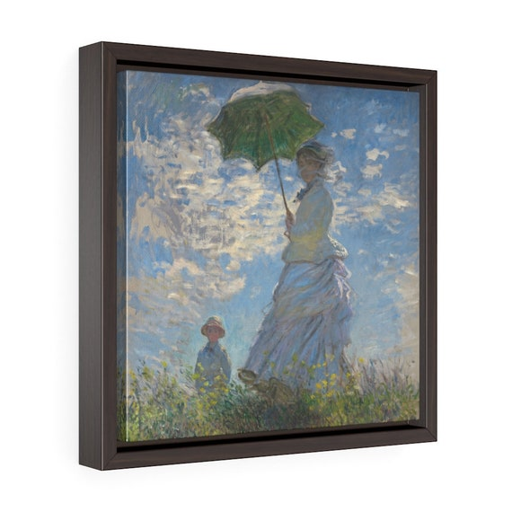"""Woman With A Parasol, 12""""x12"""" Framed Gallery Wrap Canvas, Claude Monet, Impressionism"""