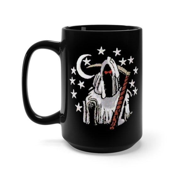 Death Night, Black 15oz Ceramic Mug, Classic Retro Style Design, From Military Patch