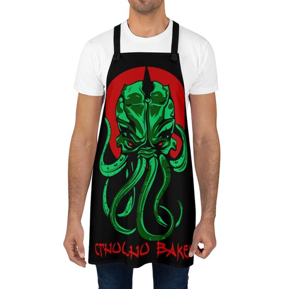 Cthulhu Bakes, Black Kitchen Apron, Inspired By H.P. Lovecraft's Mythos