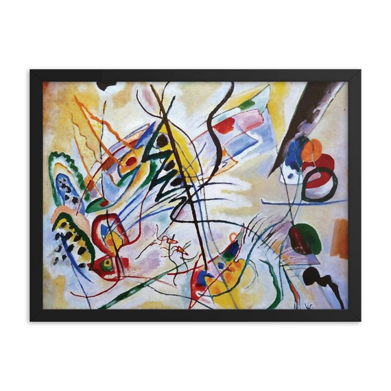 """Violet Wedge, 24""""x18"""" Framed Poster, Black Wood Frame, Acrylic Covering, Wassily Kandinsky, Abstract, Room Decor"""