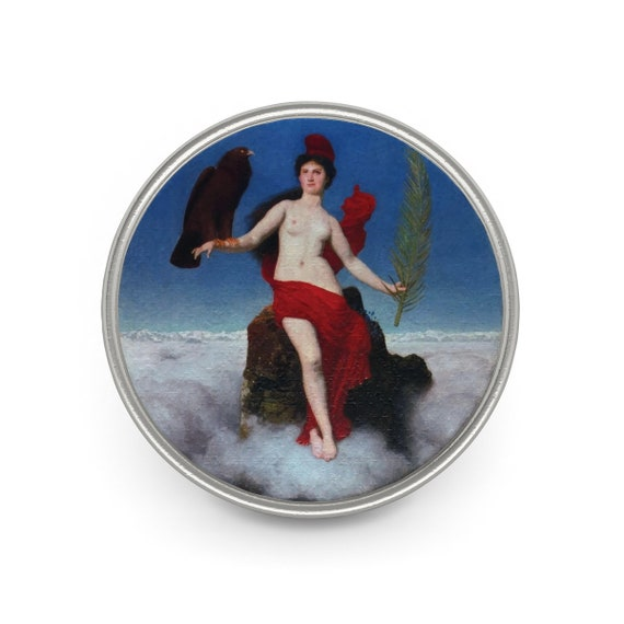 Helvetia, Pewter Pin, Antique Painting, Swiss Lady Of Freedom