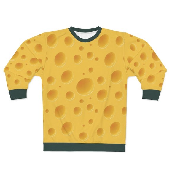 Cheese Sweatshirt With Green Trim For Your Green Bay Packers Super Bowl Party! For a Cheesehead!, AOP
