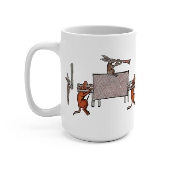 Medieval Rabbit Religious Procession White 15oz Ceramic Mug, From Medieval Manuscript, Marginalia, Coffee, Tea