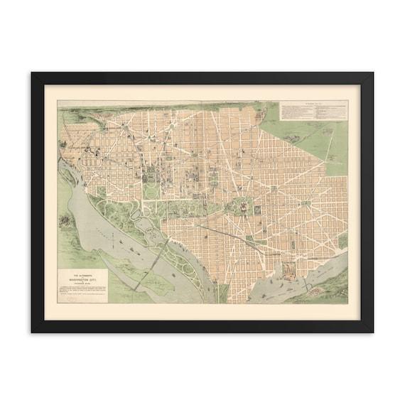 "Washington DC 1892 Map, 24"" x 18"" Framed Giclée Poster, Black Wood Frame, Acrylic Covering, Room Decor"