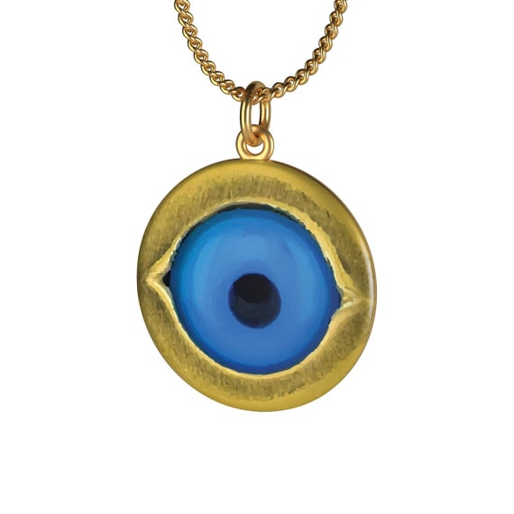 Evil Eye Protection Amulet, 18K Gold Plated Chain Necklace, Vintage Image