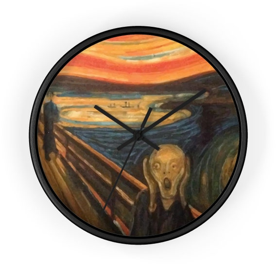 """The Scream, 10"""" Wall Clock, Vintage, Antique Painting, Edvard Munch 1893"""