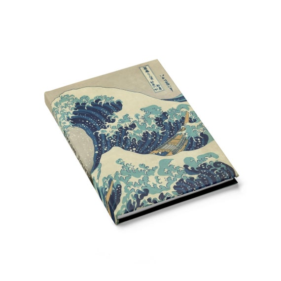 Great Wave Dream Journal, Hardcover Journal, Ruled Line, From A Vintage Woodblock Print
