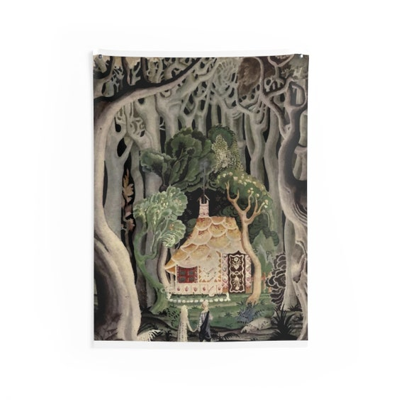 Gingerbread House, Indoor Wall Tapestry, Vintage, Art Deco, Antique Watercolor, Hansel & Gretel, 1921