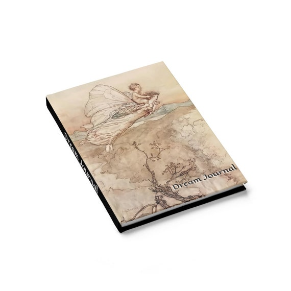 Midsummer Fairy v1, Hardcover Dream Journal, Ruled Line, Vintage Illustrations, Arthur Rackham, 1908, Notebook