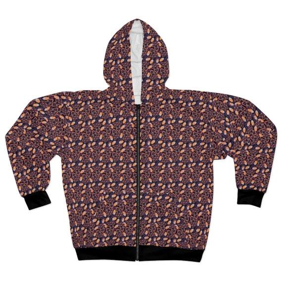 Paisley Hoodie, Unisex, Zipper, Fleece, Vintage Inpsired Pattern