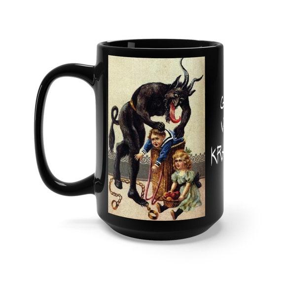 Gruß vom Krampus, Black 15oz Ceramic Mug, Christmas, Vintage German Postcard, XMAS Gift, Coffee, Tea