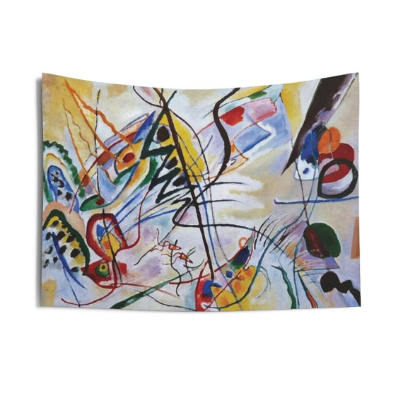 Violet Wedge, Indoor Wall Tapestry, Vintage Abstract Painting, Wassily Kandinsky, 1919, Wall Decor, Room Decor