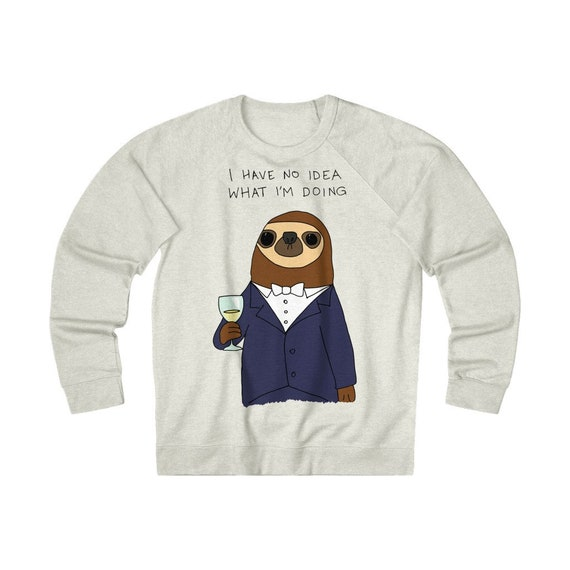 Confused Sloth Unisex French Terry Crew Sweatshirt, Funny Sweatshirt For Those Who Feel Out Of Place