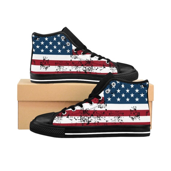 Shabby American Flag, Women's High-top Sneakers