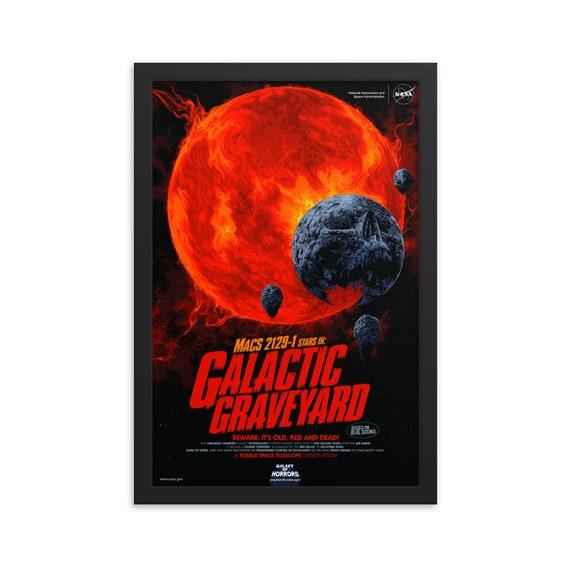 "Galactic Graveyard, 12"" x18"" Framed Poster, Black Wood Frame, Acrylic Covering, Fake Vintage/Retro Style NASA Movie Poster, Room Decor"