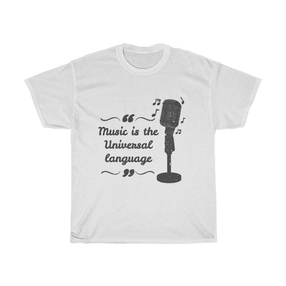 Music Is The Universal Language, Unisex Heavy Cotton Tee, Vintage Inspired Image Of A Old Style Microphone.