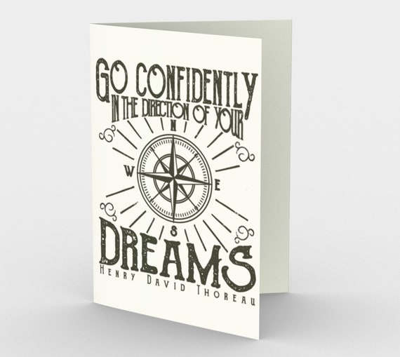 Go Confidently In The Direction Of Your Dreams - Graduation Stationery Card With A Quote By Henry David Thoreau.
