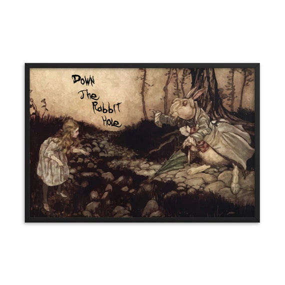Down The Rabbit Hole, Framed Giclée Poster, Black Wood Frame, Acrylic Covering, Arthur Rackham, White Rabbit, Alice In Wonderland
