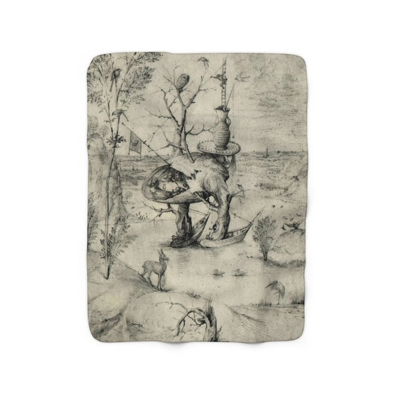 "Tree Man Sketch, 50""x60"" Sherpa Fleece Blanket, Surreal, Hieronymus Bosch"