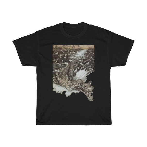 Leviathan 100% Cotton Black T-shirt, Up To 5XL, Arthur Rackham, Sea Dragon, Sea Monster