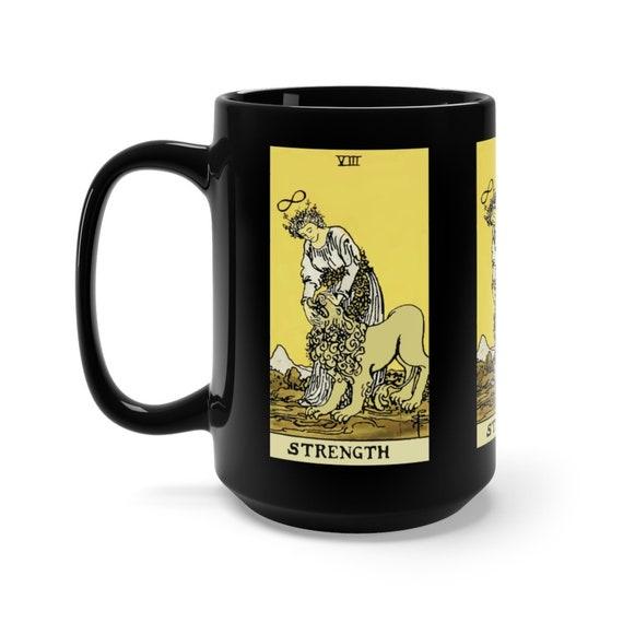 Strength, Black 15oz Ceramic Mug, Tarot Card, Major Arcana, From Vintage Rider-Waite Deck, Coffee, Tea