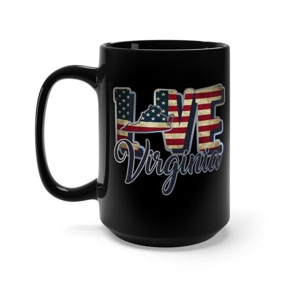 I Love Virginia, Large Black Ceramic Mug, Vintage Retro Flag, Patriotic, Patriotism, United States, Coffee, Tea