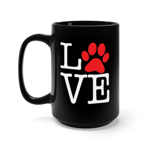 Love Paw Print, Black 15oz Ceramic Mug, I Love Dogs, I Heart Dogs, Coffee, Tea