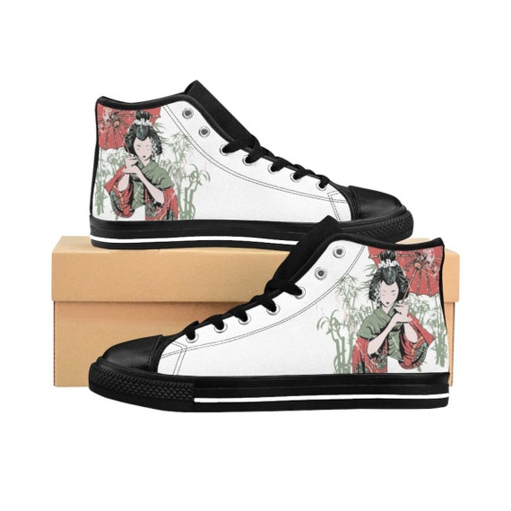 Japanese Woman With Parasol, Women's White High-top Sneakers, Vintage Inspired