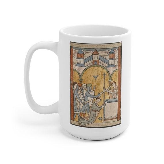 The Murder Of Thomas Becket, 15oz White Ceramic Mug, 12th Century Illuminated Manuscript, Saint Thomas of Canterbury, Christian Religion