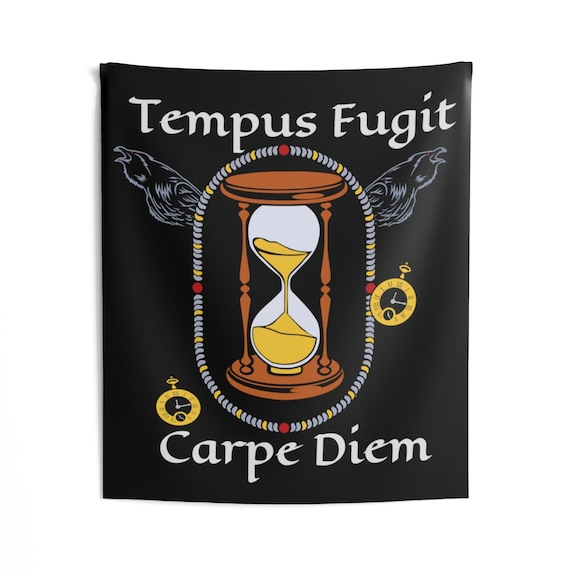 Tempus Fugit, Carpe Diem, Indoor Wall Tapestry, Time Flies So Seize The Day