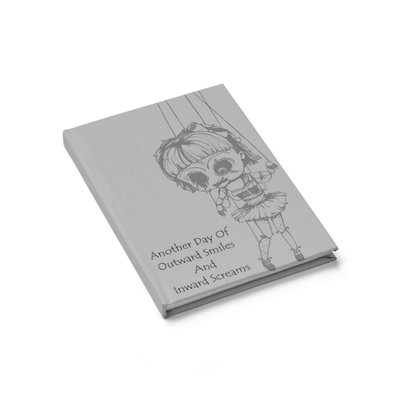 Creepy Doll, Hardcover Journal, Ruled Line, Vintage Inspired Burlesque Show Marionette Puppet