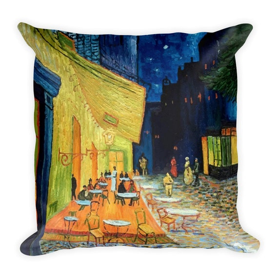 "Cafe Terrace At Night, 18"" Square Pillow, Vintage, Antique Painting, Vincent Van Gogh, 1888"