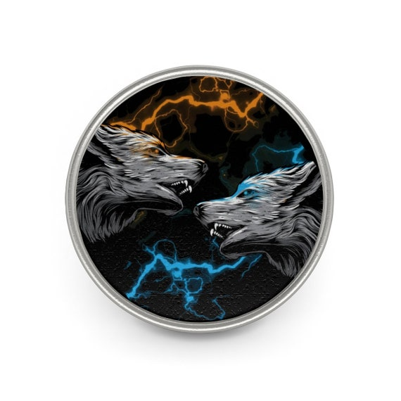Elemental Attraction, Pewter Pin, Vintage Inspired Image Of Two Wolves & Colored Lightning