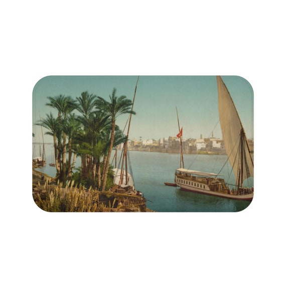 Cairo Egypt Taken From The Shore Near Bulaq, Microfiber Bath Mat - Antique/Vintage Postcard, Circa 1890 To 1906.
