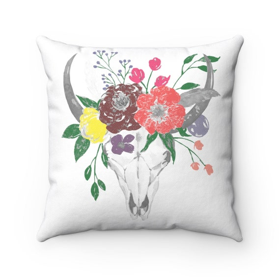 Skull & Flowers, Square Pillow, Georgia O'Keefe Inspired