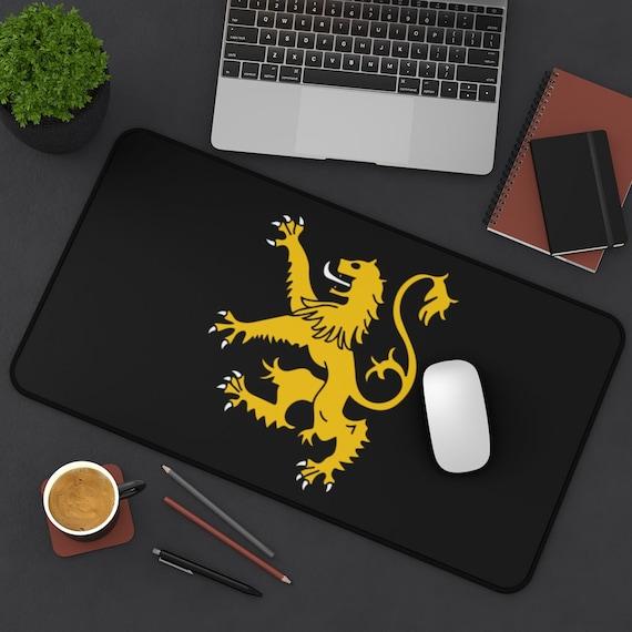 Gold Scottish Lion Rampant On A Black Field Desk Mat